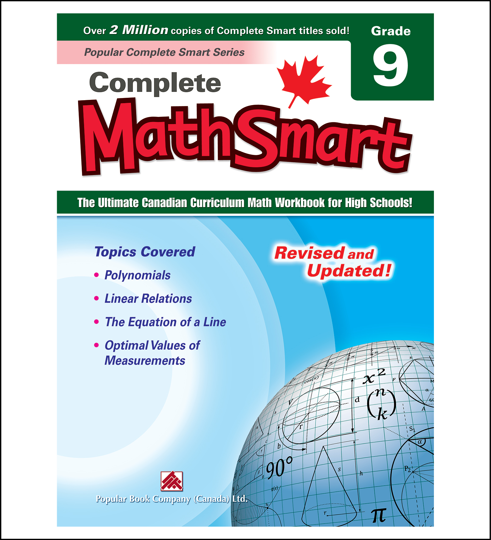 Canadian Curriculum Math Workbook Complete MathSmart Grade 9 revised and updated